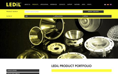 Screenshot of Products Page ledil.com - Products - LEDiL - captured Oct. 25, 2018