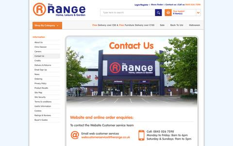 Screenshot of Contact Page therange.co.uk - Contact Us | The Range - captured Sept. 19, 2014