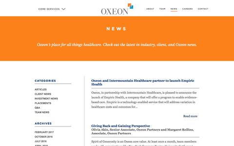 Screenshot of Press Page oxeonpartners.com - News - Healthcare Growth Services Firm - captured June 14, 2017