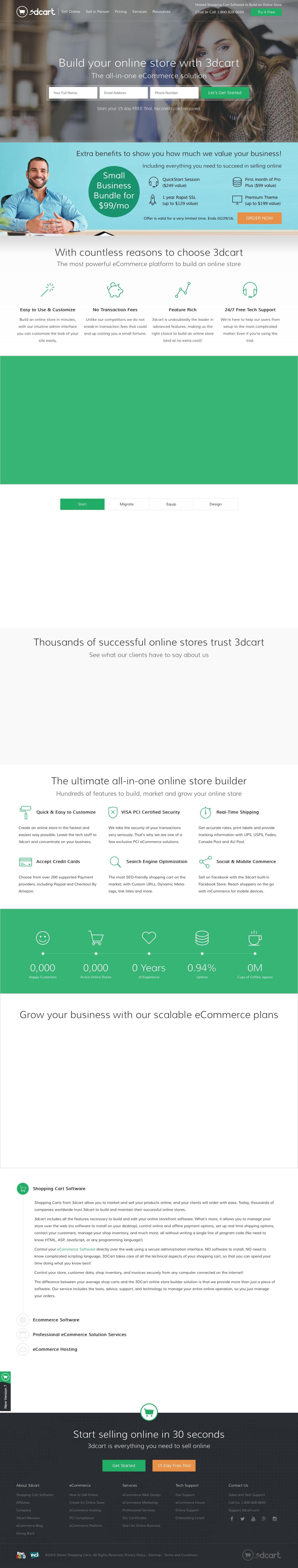 Screenshot of 3dcart.com - eCommerce Software & Shopping Cart Software by 3dcart - captured Feb. 2, 2016