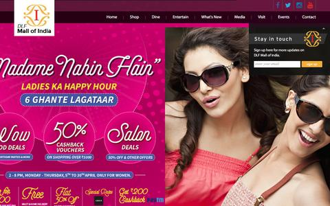Screenshot of Home Page dlfmallofindia.com - DLF Mall of India | Biggest Shopping Mall in India | Largest Mall in Noida - captured April 3, 2017