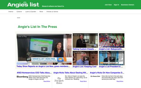 Screenshot of Press Page angieslist.com - Angie's List in the Press | Angie's List - captured July 24, 2019