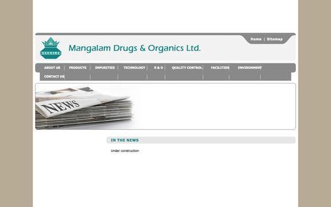 Screenshot of Press Page mangalamdrugs.com - Mangalam Drugs & Organics Ltd. - In the news - captured Oct. 4, 2014