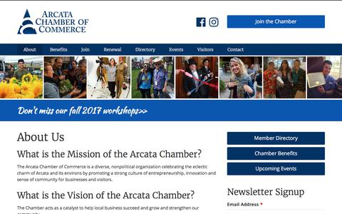 Screenshot of About Page arcatachamber.com - About Us | Arcata Chamber of Commerce - captured Oct. 8, 2017