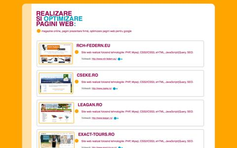 Screenshot of Home Page realizare-site-web.ro - Realizare si optimizare siteuri, pagini web: magazine online, site prezentare firma - captured Oct. 11, 2015