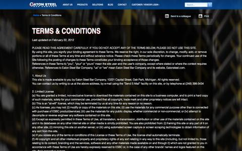 Screenshot of Terms Page eatonsteel.com - Terms & Conditions | Eaton Steel Bar Company - captured Oct. 1, 2014