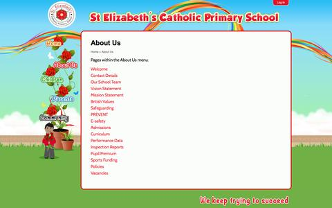 Screenshot of About Page st-elizabeths.coventry.sch.uk - About Us | St Elizabeth's Catholic Primary School - captured May 24, 2016