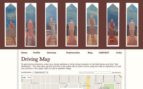 Screenshot of Maps & Directions Page leeyahnke.com - Lee Yahnke, PsyD,Lp - Driving Map - captured Jan. 24, 2016