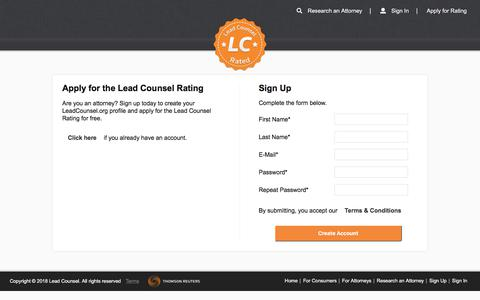 Screenshot of Signup Page leadcounsel.org - Apply for the Lead Counsel Rating | Lead Counsel - captured July 17, 2018