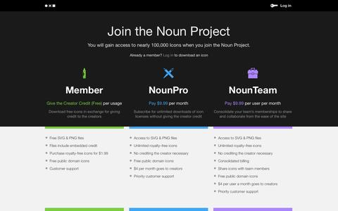 Screenshot of Pricing Page thenounproject.com - NounProject - captured Dec. 17, 2014