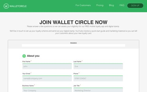 Screenshot of Signup Page walletcircle.com - Get Started for Free | Wallet Circle | Wallet Circle - captured Dec. 17, 2016