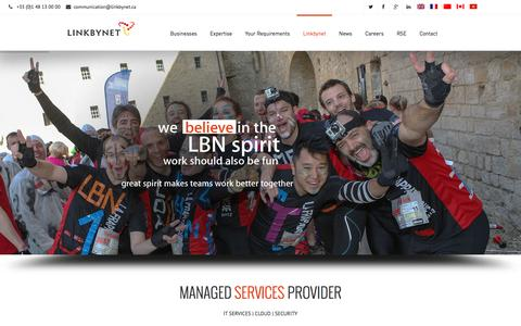 Screenshot of Home Page linkbynet.com - Managed services provider, IT Services & Cloud - LINKBYNET - captured Jan. 23, 2016