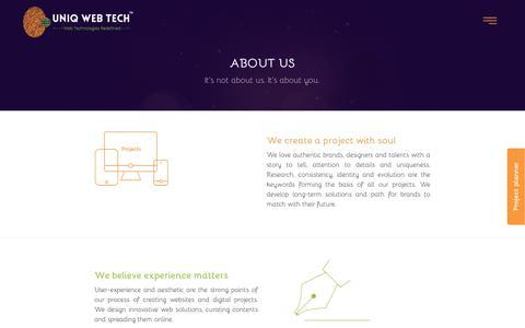 Screenshot of About Page uniqwebtech.com - About   Website Development   Application Development  WordPress Websites  Psd to HTML Conversion - captured Aug. 12, 2016
