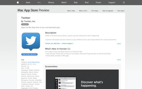 Screenshot of iOS App Page apple.com - Mac App Store - Twitter - captured Oct. 22, 2014