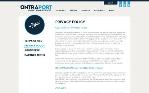 Screenshot of Privacy Page ontraport.com - ONTRAPORT | Legal – Privacy Policy - captured July 21, 2014