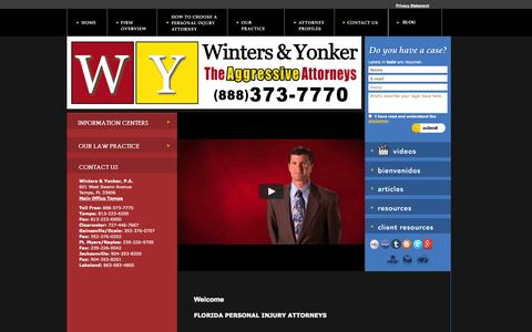 Screenshot of Home Page wintersandyonker.com - Tampa Personal Injury & Auto Accident Attorneys | Winters &   Yonker - captured Oct. 4, 2014