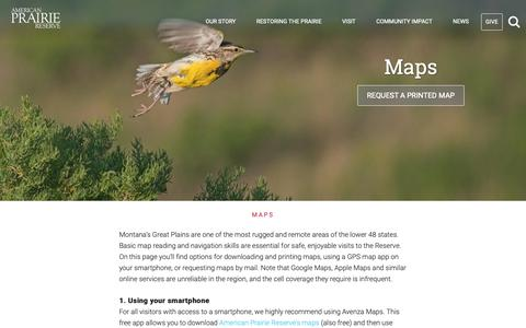 Screenshot of Maps & Directions Page americanprairie.org - Maps | American Prairie Reserve - captured Nov. 12, 2018