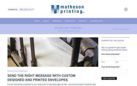Screenshot of Services Page mathesonprinting.com - Envelope Printing - Matheson Printing - captured Sept. 18, 2017