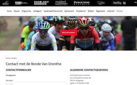 Screenshot of Contact Page rondevandrenthe.nl - contact - captured June 28, 2018