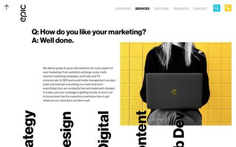 Screenshot of Services Page marketingepic.com - Services | Epic Marketing - captured Nov. 30, 2019