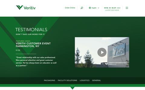 Screenshot of Testimonials Page unisourceglobalsolutions.com - Testimonials   Veritiv Corporation - captured Aug. 12, 2016