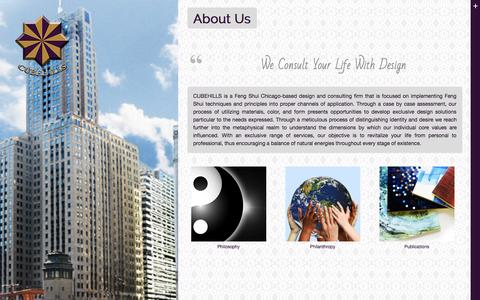 Screenshot of About Page cubehills.com - Feng Shui Chicago   About Us   CUBEHILLS - captured Oct. 1, 2014