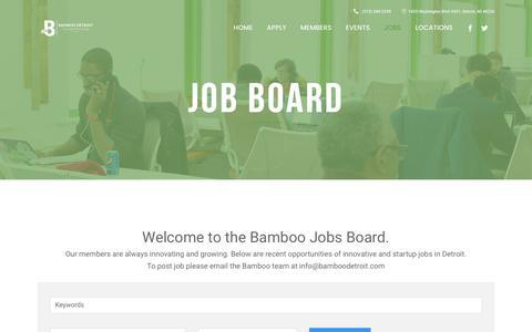 Screenshot of Jobs Page bamboodetroit.com - Bamboo Detroit |   Job Board - captured May 31, 2017