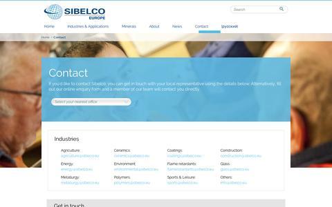 Screenshot of Contact Page sibelco.eu - Contact | Sibelco Europe - captured Oct. 4, 2014