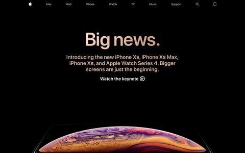 Screenshot of Home Page apple.com - Apple - captured Sept. 13, 2018