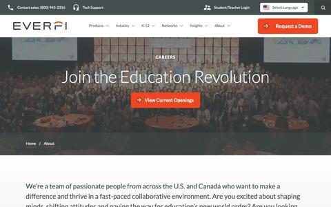 Screenshot of Jobs Page everfi.com - Careers and Job Openings | Education Tech | EVERFI - captured June 18, 2019