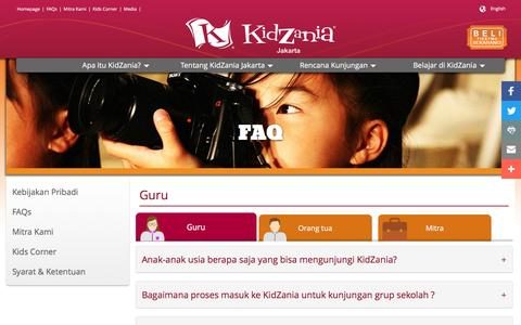 Screenshot of FAQ Page kidzania.com captured Aug. 27, 2016