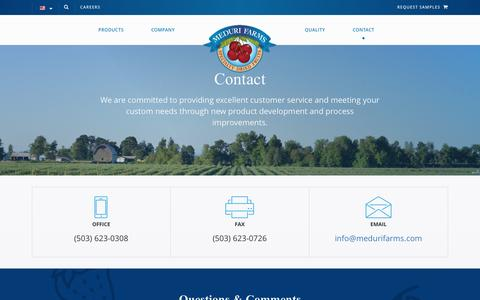 Screenshot of Contact Page medurifarms.com - Contact | Meduri Farms - captured Nov. 28, 2016