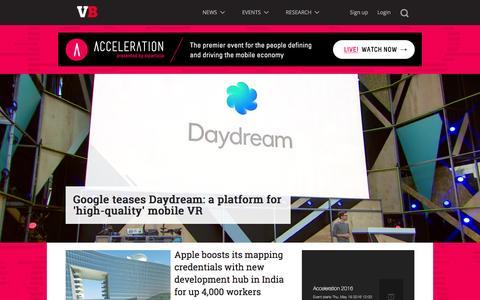 Screenshot of Home Page venturebeat.com - VentureBeat | Tech News That Matters - captured May 19, 2016