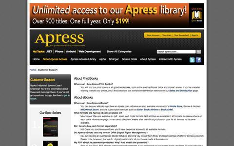 Screenshot of Support Page apress.com - Customer Support - captured Sept. 18, 2014