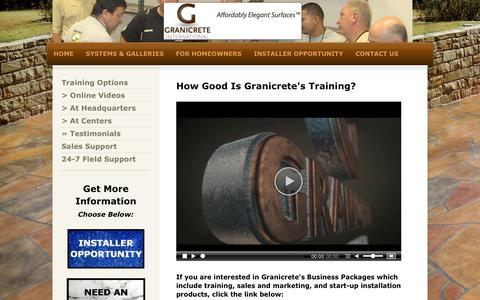 Screenshot of Testimonials Page granicrete.com - Training testimonies confirm Granicrete is easy to learn and easy to do. - captured Oct. 1, 2014