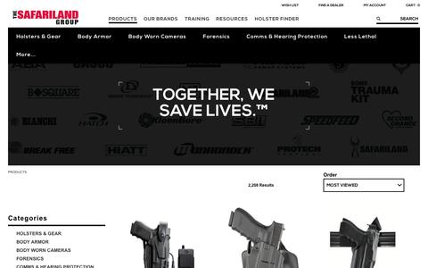 Screenshot of Products Page safariland.com - Law Enforcement Gear | The SAFARILAND Group - captured Dec. 31, 2016