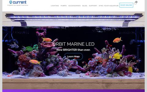 Screenshot of Home Page current-usa.com - Aquarium LED Lighting, Wave Pumps & Accessories | Current-USA - captured July 13, 2018