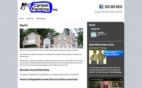 Screenshot of About Page nwcarmelpainting.com - About Us  ::  Carmel Painting - captured Oct. 2, 2014