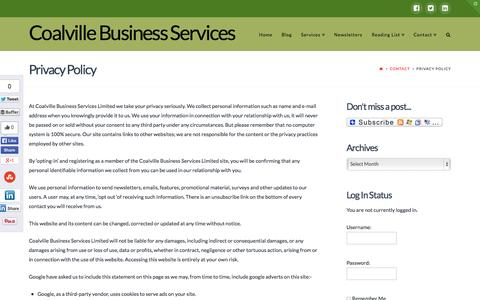 Screenshot of Privacy Page raystewart.biz - Privacy Policy - Coalville Business Services - captured Oct. 2, 2014