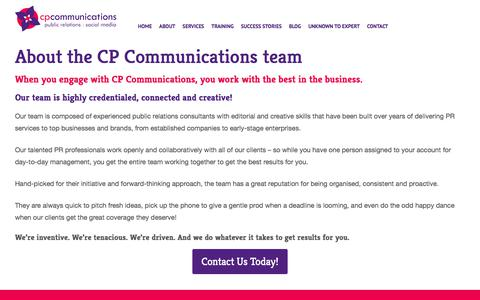 Screenshot of Team Page cpcommunications.com.au - About the CP Communications Team: PR Agency Sydney - captured July 14, 2018