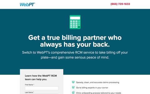 Screenshot of Landing Page webpt.com - WebPT | Billing - captured July 1, 2017