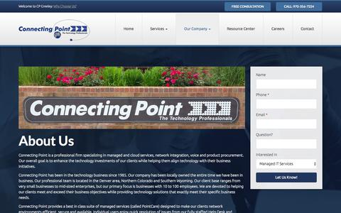 Screenshot of About Page cpgreeley.com - About Us | Connecting Point - captured Oct. 2, 2014