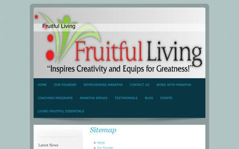 Screenshot of Site Map Page fruitfullivingnow.com - Fruitful Living - Home - captured Oct. 11, 2018