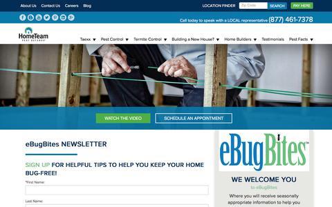 Screenshot of Signup Page pestdefense.com - eBugBites - Pest Control Newsletter Signup | HomeTeam Pest Defense - captured March 28, 2017