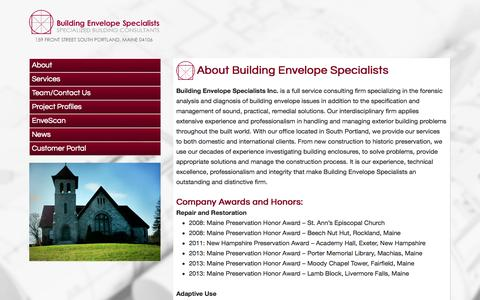 Screenshot of About Page building-envelope-specialists.net - About Building Envelope Specialists - Building Envelope Specialists | Building Envelope Specialists - captured Oct. 1, 2014