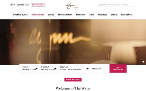Screenshot of Home Page wynnlasvegas.com - Las Vegas Luxury Hotels | Wynn Las Vegas and Encore Resort - captured May 15, 2019