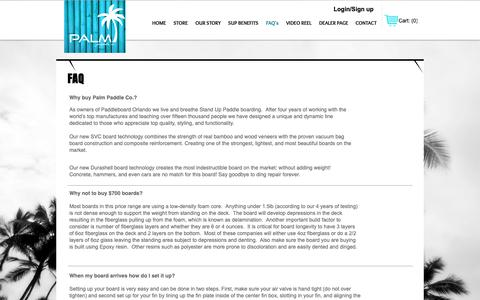 Screenshot of FAQ Page palmpaddleboards.com - Palm Paddle Frequently Asked Questons - captured Sept. 26, 2018
