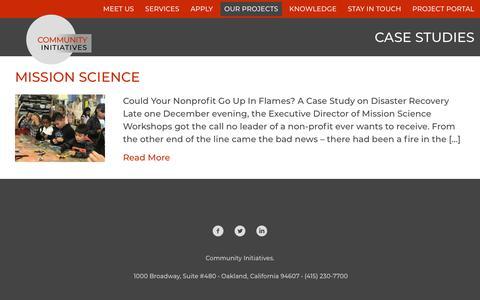 Screenshot of Case Studies Page communityin.org - Case Studies - Community Initiatives - captured Nov. 10, 2018
