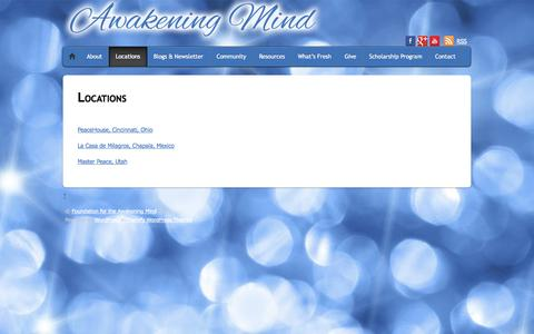 Screenshot of Locations Page awakening-mind.org - Locations - Foundation for the Awakening Mind - captured Oct. 1, 2014