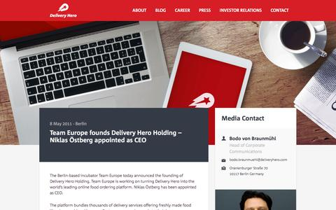 Screenshot of Team Page deliveryhero.com - Team Europe founds Delivery Hero Holding - Niklas Östberg appointed as CEO | Delivery Hero : Delivery Hero - The Easiest Way to Your Favourite Food - captured April 19, 2018